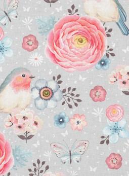 D17 - Ptaszki, kwiaty szare