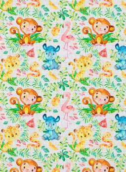 D30-A - Małpka, flamingi -...
