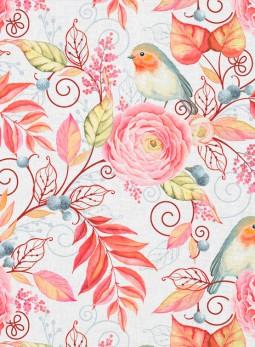 D22 - Ptaszki, kwiaty - różane